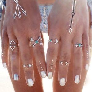 Jewelry - Boho 6 Pcs SILVER + TURQUOISE Ring Set NEW!